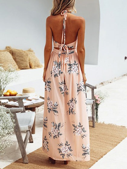 Pink Plunge Halter Floral Print Thigh Split  Chic Women Maxi Dress