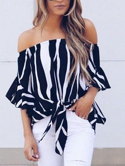 Black Zebra Stripes Chiffon Off Shoulder Chic Women Ruched Blouse