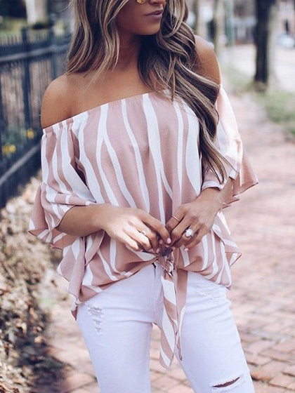 Pink Women Ruched Blouse Zebra Stripes Chiffon Off Shoulder Chic