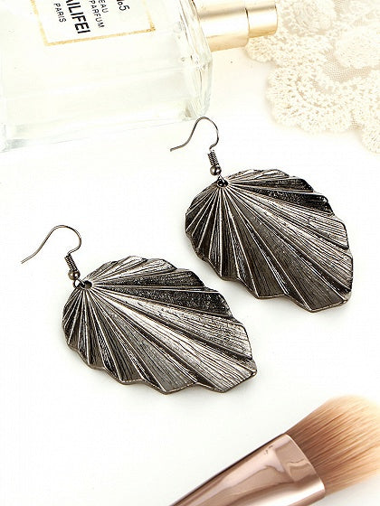 Black Alloy Leaf Shape Women Earrings