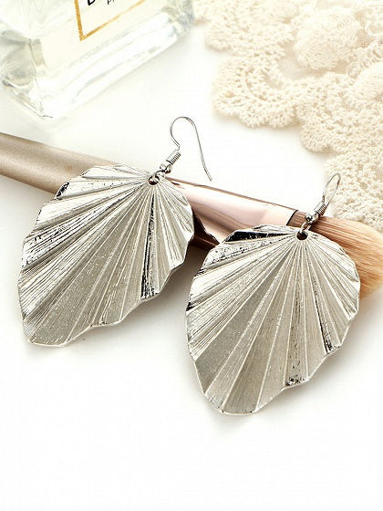 Silver Alloy Leaf Shape Women Earrings