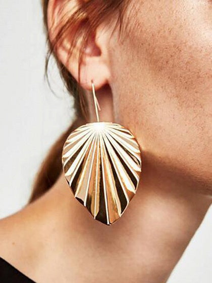 Gold Alloy Leaf Shape Women Earrings