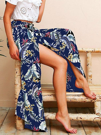 Navy Blue Women Maxi Skirt Blend Leaves Print Thigh Split Side Chic