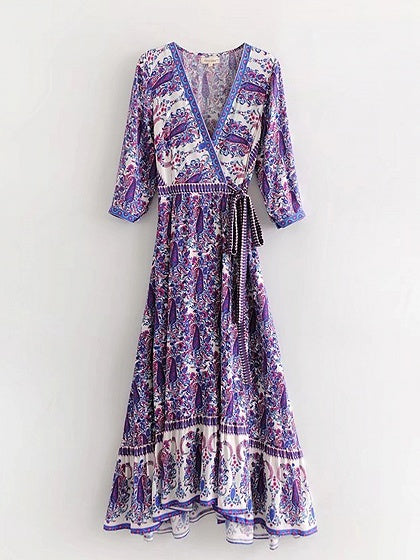 Polychrome Cotton Plunge Paisley Print Tie Waist Chic Women Maxi Dress