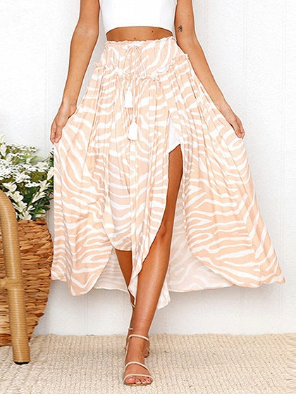Polychrome Drawstring Waist Thigh Split Side Chic Women Maxi Skirt