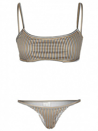 Polychrome Stripe Lace Up Chic Women Cami Bikini Top And Bottom