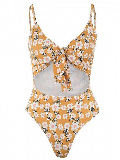 Yellow V-neck Spaghetti Strap Floral Print Cut Out Chic Women Swimwear