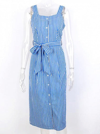 Blue Cotton Stripe Square Neck Sleeveless Chic Women Midi Dress