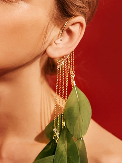 Dark Green Women Earrings Alloy Tassel Feather Chic