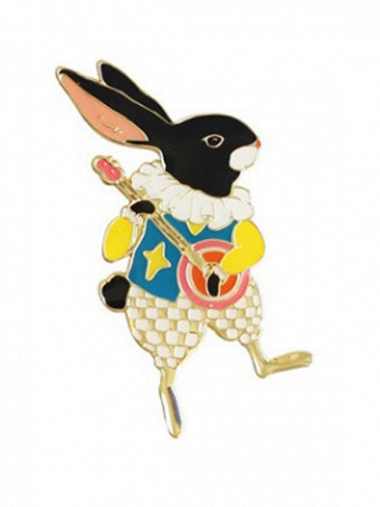 Multicolor Cute Rabbit Guitar Design Brooch