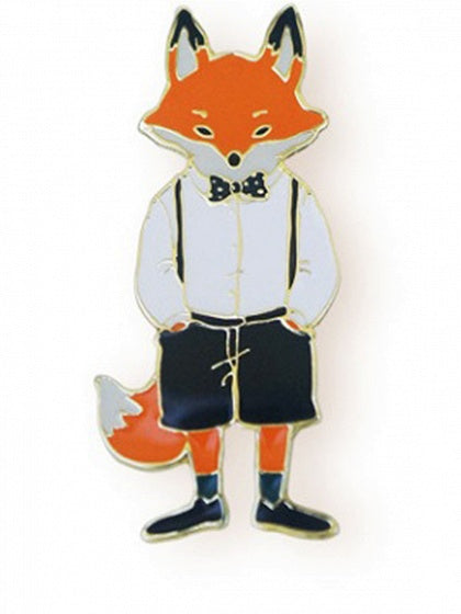 Multicolor Cute Fox Design Brooch