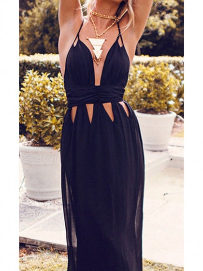 Black Women Cami Maxi Dress Plunge Cross Strap Back