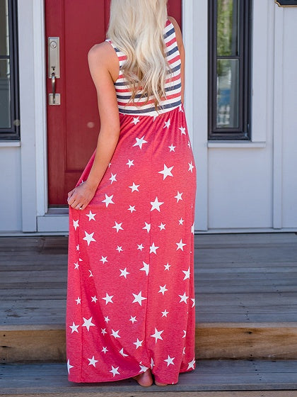 Red Star Print Stripe Panel Sleeveless Chic Women Maxi Dress