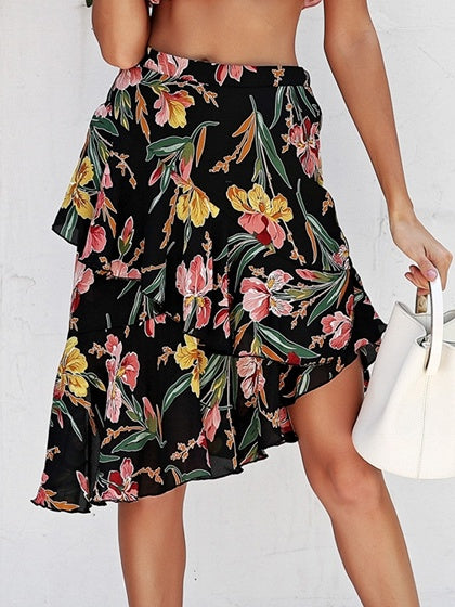 Black Women Skirt High Waist Floral Print Asymmetric Hem Chic