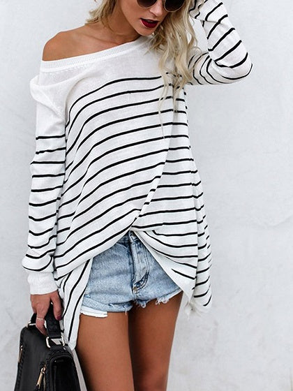 White Stripe Cotton Long Sleeve Chic Women Blouse