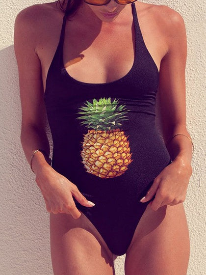 Black Nylon Pineapple Print Open Back Chic Women Swimsuit