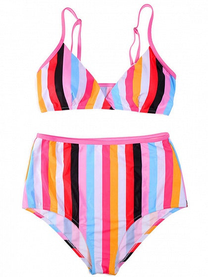 Polychrome Stripe Nylon Chic Women Bikini Top And Bottom