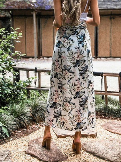 White Women Maxi Skirt High Waist Floral Print Thigh Split Front Chic