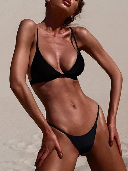 Black Nylon Open Back Chic Women Bikini Top And Bottom