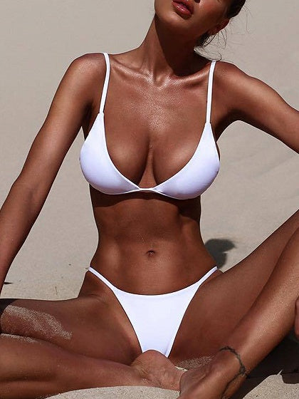 White Nylon Open Back Chic Women Bikini Top And Bottom