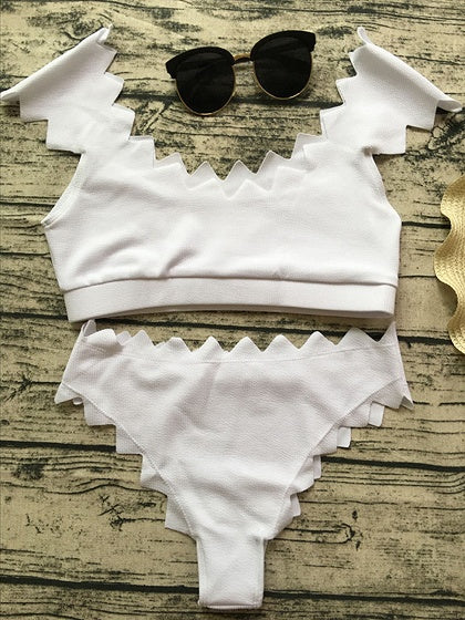 White Nylon Chevron Trim Chic Women Bikini Top And High Waist Bottom