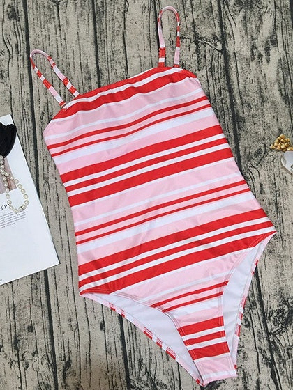 Red Stripe Spaghetti Strap Chic Women Swimsuit