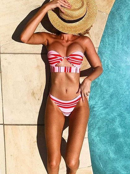 Red Stripe Chic Women Bikini Top And High Waist Bottom