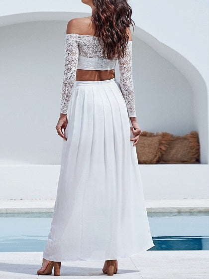 White Two Pieces Off Shoulder Long Sleeve Lace
