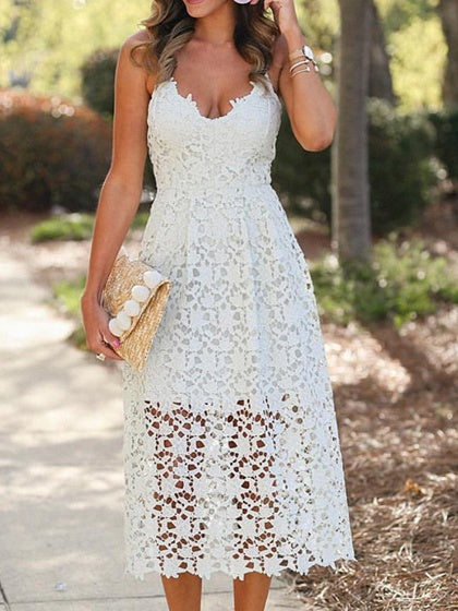 White V-neck Cut Out Detail Chic Women Lace Cami Midi Dress