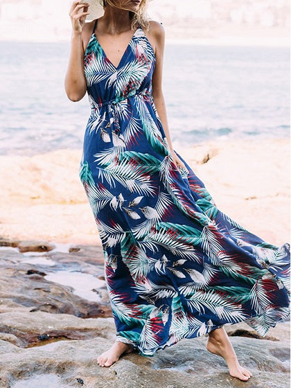 Blue Cotton Blend V-neck Leaf Print Chic Women Cami Maxi Dress