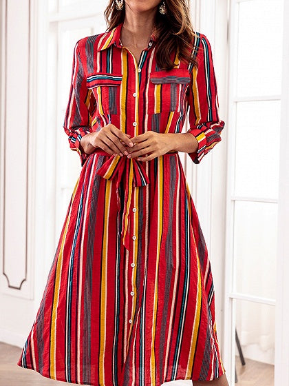 Polychrome Stripe Cotton Blend Tie Waist Chic Women Midi Dress