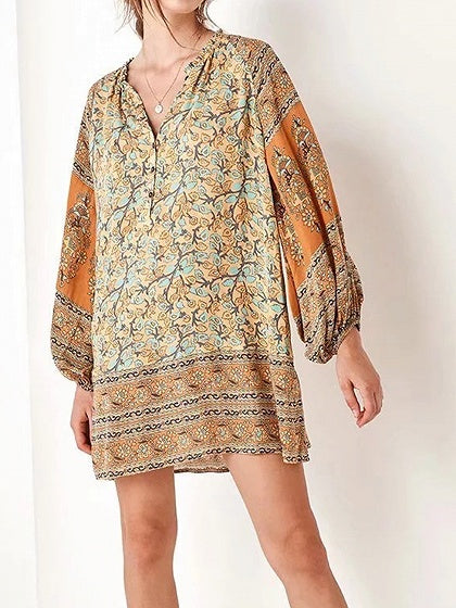 Polychrome Cotton V-neck Folk Print Chic Women Mini Dress