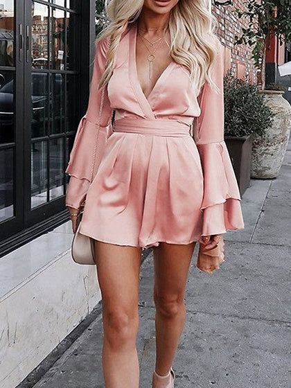 Pink Satin Look Plunge Ruffle Sleeve Chic Women Romper Playsuit
