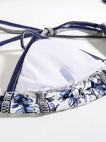 Blue Nylon Floral Print Chic Women Bikini Top And High Waist Bottom