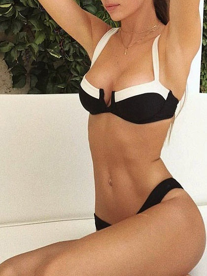 Black Nylon V-neck Contrast Panel Chic Women Bikini Top And Bottom