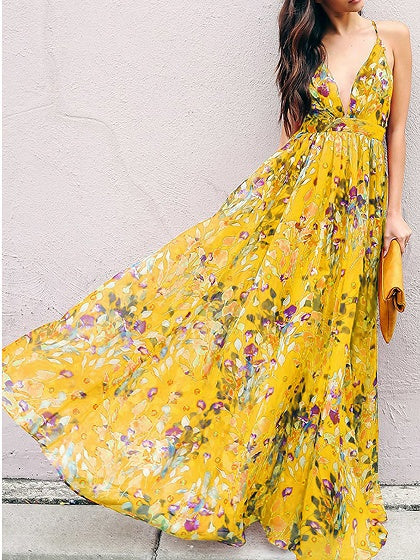Yellow Plunge Floral Print Open Back Chic Women Cami Maxi Dress