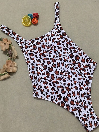 White Nylon Leopard Print Open Back Chic Women Swimsuit