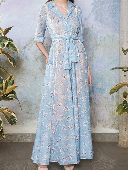Blue V-neck Floral Print Tie Waist Chic Women Maxi Dress