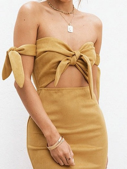 Yellow Off Shoulder Tie Detail Chic Women Bodycon Mini Dress