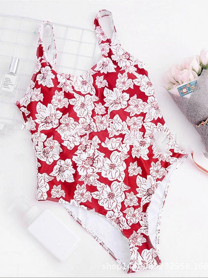 Red Floral Print Open Back Chic Women Swimsuit