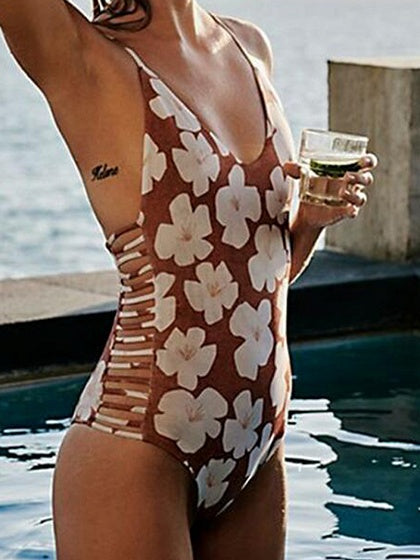 Polychrome V-neck Floral Print Open Back Chic Women Swimsuit