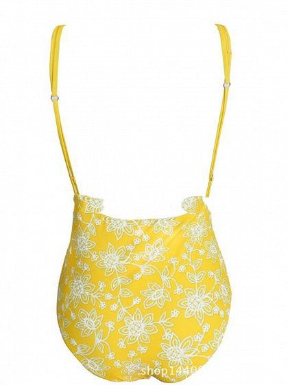 Yellow Flower Embroidery Open Back Chic Women Swimsuit
