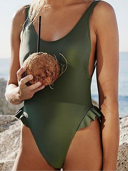 Army Green Ruffle Trim Open Back Chic Women Swimsuit