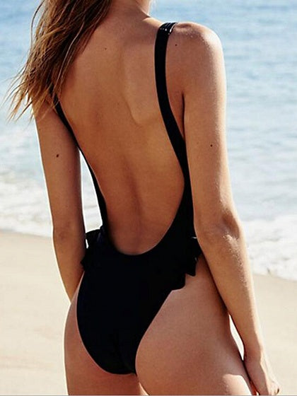 Black Ruffle Trim Open Back Chic Women Swimsuit