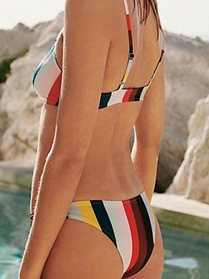 Polychrome Stripe Chic Women Bikini Top And High Waist Bottom