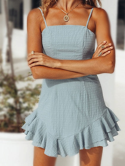 Blue Tie Back Ruffle Hem Chic Women Cami Mini Dress