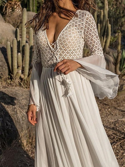 White Plunge Lace Up Front Flare Sleeve Chic Women Maxi Dress
