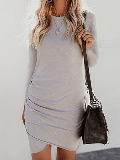 Gray Women Bodycon Mini Dress Cotton Long Sleeve Chic