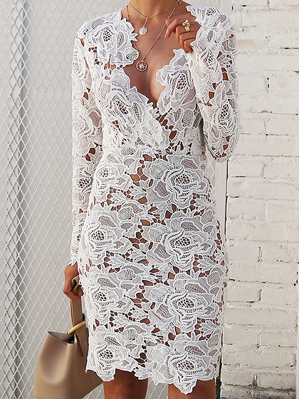 White Plunge Long Sleeve Chic Women Lace Dress