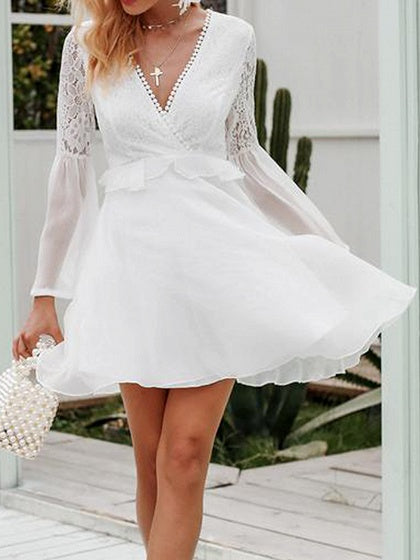 White V-neck Lace Panel Flare Sleeve Chic Women Mini Dress
